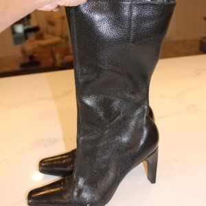 Pazzo Black Leather Patchwork High Heel Boots